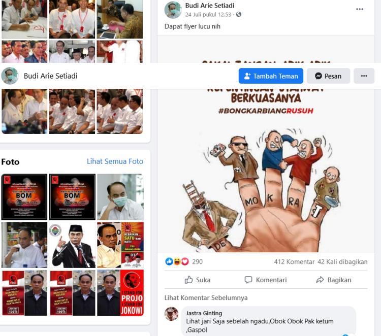Postingan akun facebook Budi Arie Setiadi